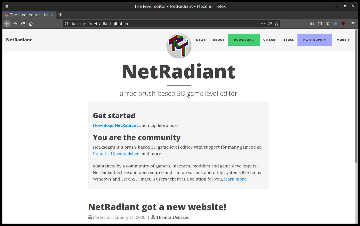New NetRadiant website